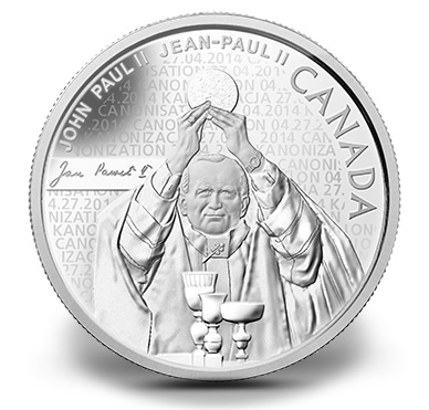 Pope John Paul II 2014 Canadian $10 Silver Coin