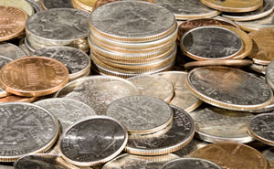 US coins - pennies, nickels, dimes and quarters