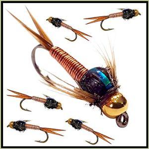 Copper John– 6mouches pour pêche à la truite– nymphes à tête dorée 33J X 6 (fabriqué par nos apprentis) avec hameçon de taille12
