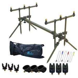 Croch Carp Fishing Rod Pod Set with Bite Alarms Indicator Swinger Rests and Bag