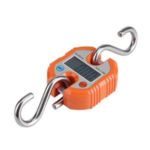 Pèse Bagage Valise avec 2 Crochets Acier INOX Numérique Grue Portable LCD Électronique Échelles Suspendues Pesant Équilibre pour Maison Ferme Usine Chasse 150 Kg(Orange)