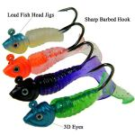 Qualyqualy Jig Têtes Bass Fishing Leurres Crochets kit d'eau douce ou Salée 7G-8g Pêche Jigs avec bouclés Queue Asticots WORM souple Leurre appâts Lot de 17