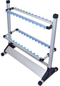 FO en aluminium Support pour canne à pêche 24 Canne, 70 x 34 x 72 cm