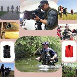 Homme Gilet Pêche avec Multi-Poche zippée Pour Photographie/Chasse/Voyage Sport Extérieure – Noir, XXXL