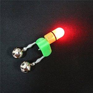 Agapé 10pcs LED Twin cloches articles de pêche Nuit Mer Canne à pêche Alarme lumineux Pêche cloches à l'aide de la nuit Alerte de pêche à la carpe