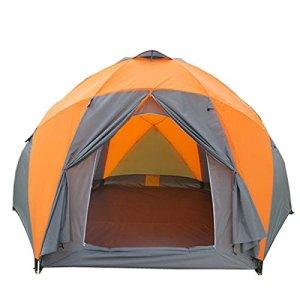 8 à 10 Personnes De Haute Qualité Coupe-vent Imperméable Tente Extérieur Hex Famille Durable Tente Camping,Orange-XL