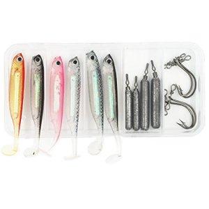 Kit d'accessoires de montage de pêche en drop shot pour basse, perche, incluant des poids de drop shot, des appâts de poissons nageurs mous et des hameçons pour drop shot