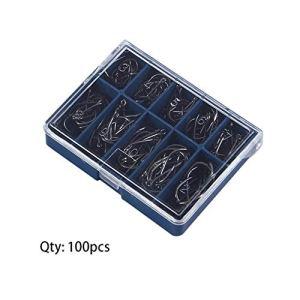 Fantasyworld Durable 1 Set 100 Pcs 10 Tailles 3# À 12# Noir Argent Crochets De Pêche avec Trou Carpe De Pêche Tackle Carry Box
