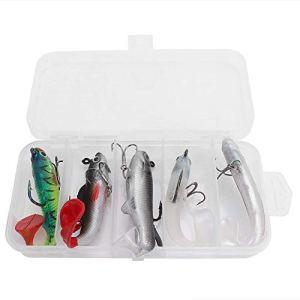 Appâts de pêche ensemble, 5 Pcs Boxed Multicolor Vraies artificielles appâts de pêche artificiels Leurres souples avec crochets Set Accessoires Kit Outil utile pour les pêcheurs à la pêche en eau de m