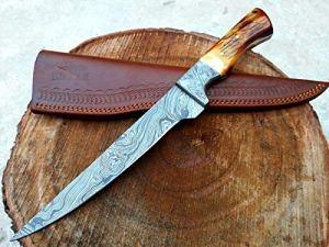 Couteau de Cuisine en Fibre de Damas Fait à la Main