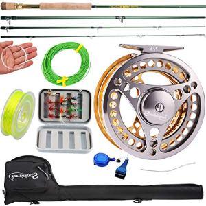Sougayilang Moulinet de Canne à pêche à la Mouche avec Canne à pêche légère Portable et Moulinet à Mouche, kit Complet de démarrage (doré 7/8)