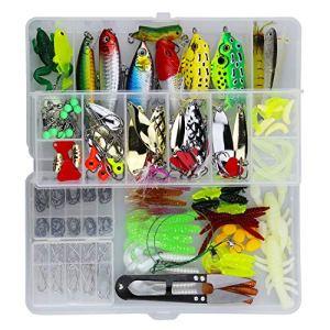 Leurres de Pêche Kit 235pcs – Spinnerbaits,Plastique vers,Minnow,Popper,Crayon en Métal Dur Leurres,Souples Pêche Jigs Crochets de Pêche – Kit d'appâts de Pêche Portable avec Boîte