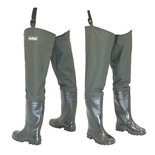 FortMen Watstiefel Pantalon de pêche pour Homme avec Bottes imperméables Taille 41-47, Vert Olive, 42