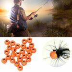 Mouche Perles de Liage en Alliage de Tungstène Perles Rondes Tête de Nymphe Balle Leurre de Poisson 25Pcs Orange 2. 8Mm
