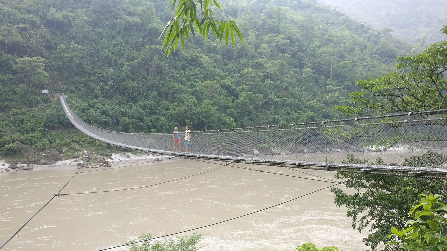 Suspension bridge on river Narayani on the way to Chitwan from Pokhara