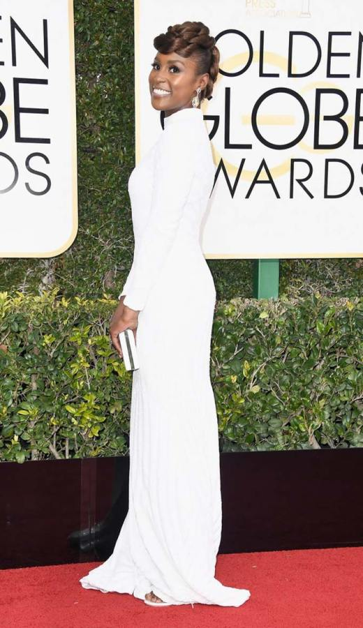 Issa Rae Wearing a custom Christian Siriano at the 2017 Golden Globes