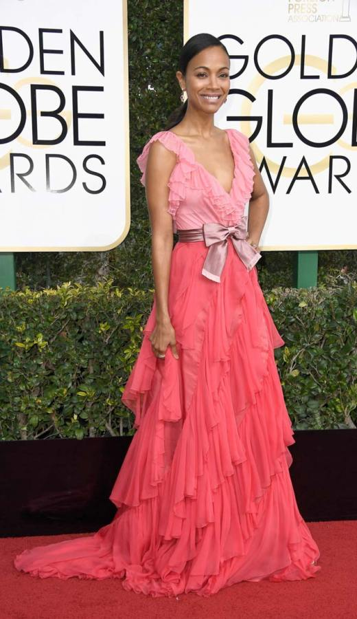 Zoe Saldana in Gucci at the 2017 Golden Globes
