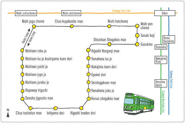Mapa do trajeto Shiden
