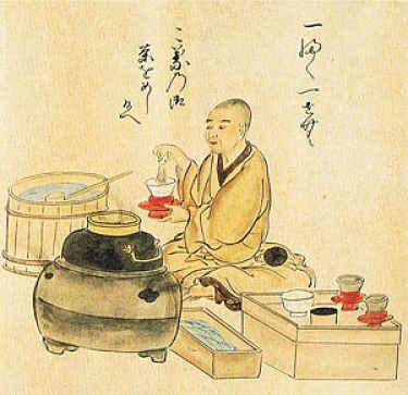 monge fazendo chá