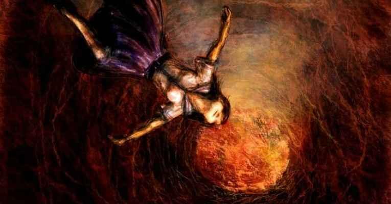 Ilustração de uma pessoa caindo na lava
