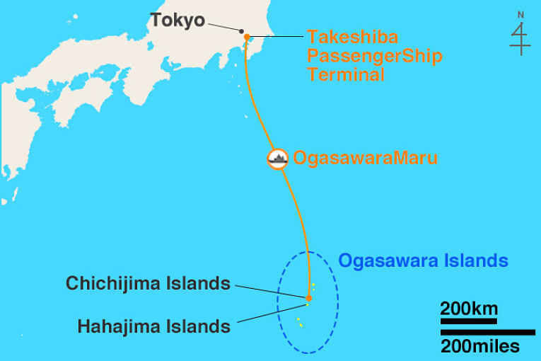 Mapa conectando Tokyo com Ogawasara