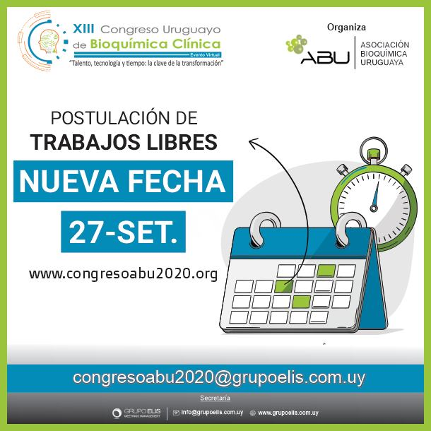Postulaciones para el Xlll Congreso Uruguayo de Bioquímica Clínica