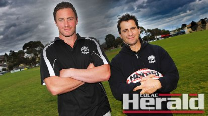 Lorne Football Club has landed one of the recruits of the 2016 Colac district football season, appointing four-time GFL premiership player and former VFL-listed ruckman Sam Stavenuiter as its new playing coach. Stavenuiter is pictured left with Lorne's director of football Jimmy Kambouris.