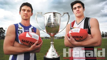 FIRM GRIP: South Colac skipper Daniel Roberts, left, and young Birregurra captain Jack Melican are desperate to taste their first senior premiership triumphs when the two sides go head-to-head in a blockbuster CDFL grand final contest at Central Reserve tomorrow.