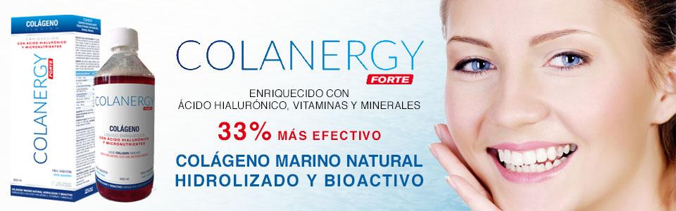 Colanergy colágeno marino natural hidrolizado y bioactivo enriquecido con ácido hialurónico, vitaminas y minerales