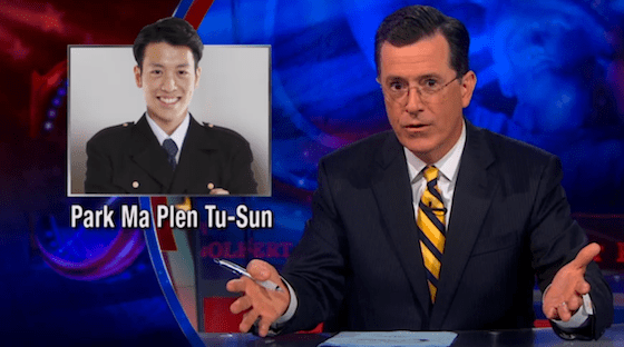 The Colbert Report on KTVU Asian Airlines crash