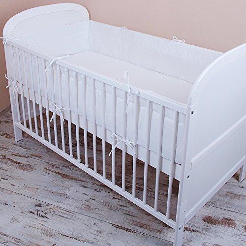 Amilian® – Protector de cabeza para cuna, 420 x 30 cm, 360 x 30 cm, 180 x 30 cm, protector del bordes para bebés, en color blanco Talla:420x30cm
