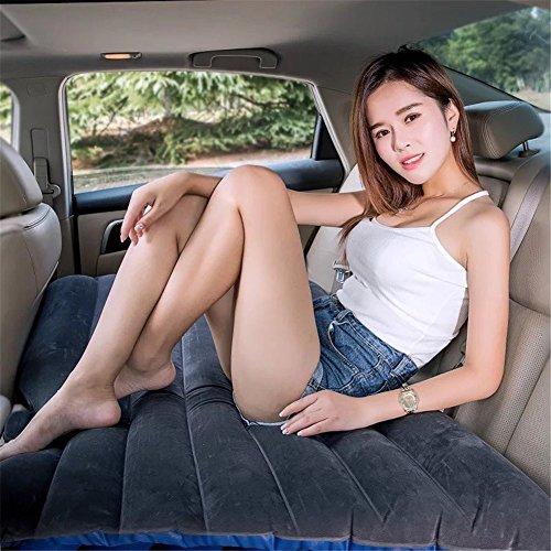 Camping coche funda para cojín aire inflación de viaje cama colchón asiento trasero extendida sofá para SUVs y automóviles y camiones, pvc, beige, with baffle (Negro)