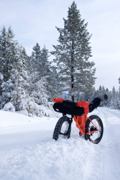 fatbike packed for snowy overnight