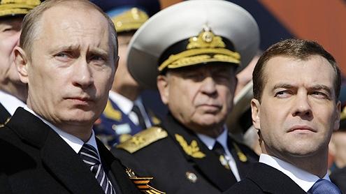 Vladimir Putin y Medvedev por Russland und Ukraine