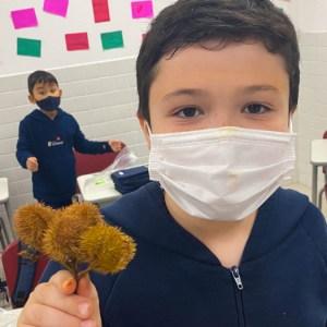 Cultura indígena! Crianças pintam seus rostos com tinta do fruto Urucum, que eles mesmos produziram!