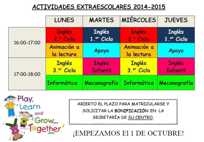 horario actividades 1415