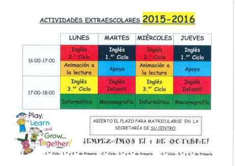 horario actividades extraescolares 1516
