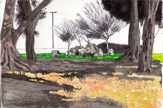 Exposition Park Henge 2014 ink and gouache on paper 5x8 inches