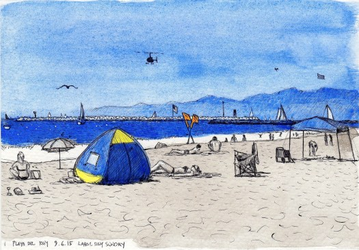 Labor Day Sunday Playa Del Rey, 9.6.15 2015 Ink and gouache on paper 5.5x8 inches