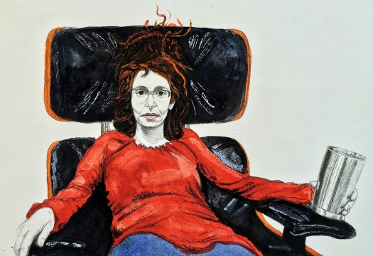 Maura In Eames Chair With Tea 2015 Graphite and gouache on paper 10x15 inches