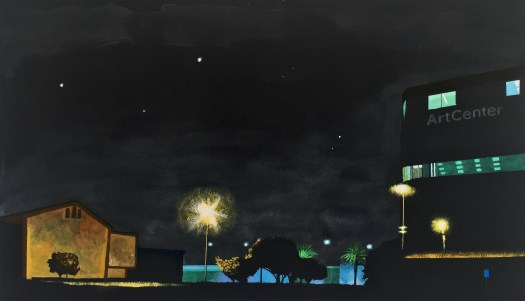 Nocturne: 1111 Arroyo Parkway 2015 ink and gouache on black Arches paper 17x30 inches