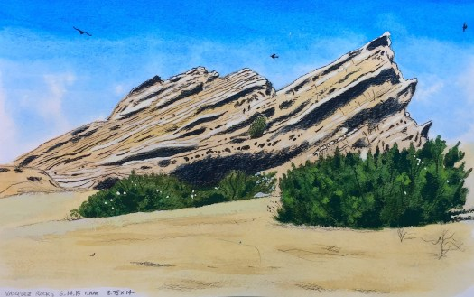 Vasquez Rocks 1, June 14, 2015 2015 Graphite and gouache on paper 8.75x14 inches