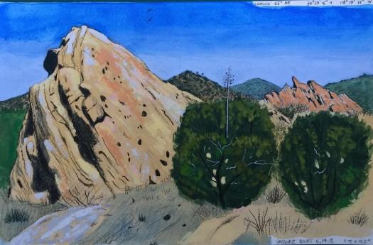 Vasquez Rocks 2, June 14, 2015 2015 Graphite and gouache on paper 8.75x13.5 inches