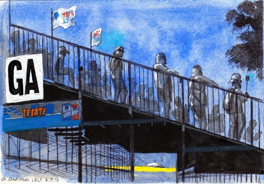 GA Grandstand 2015 ink and gouache on paper 5x8 inches