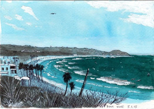 Point Dume 2015 Ink and gouache on paper 5x8 inches