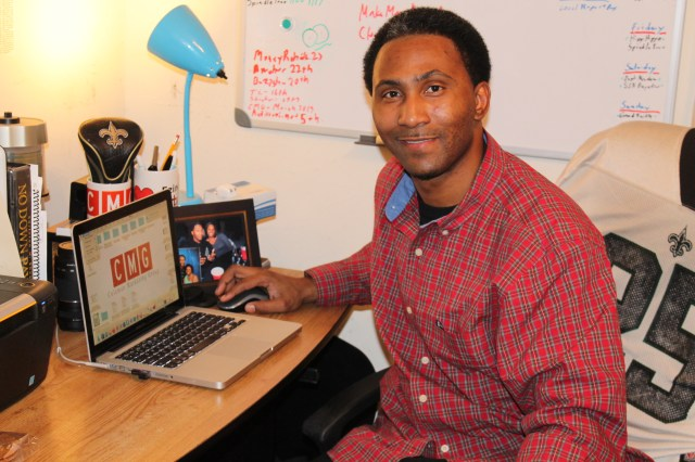 Antonio Coleman of the Coleman Marketing Group at his home office