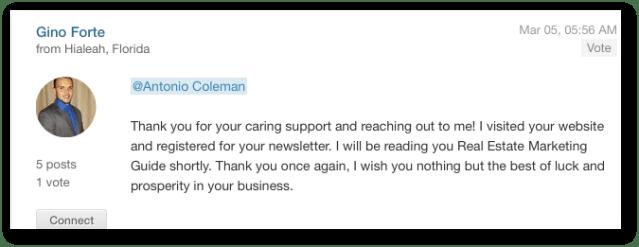 Gino Forte reply to Antonio Coleman