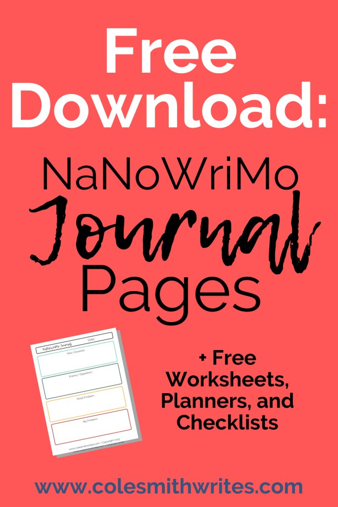 Free Printable Download: NaNoWriMo Journal Pages | #author #inspiration #motivation #readers