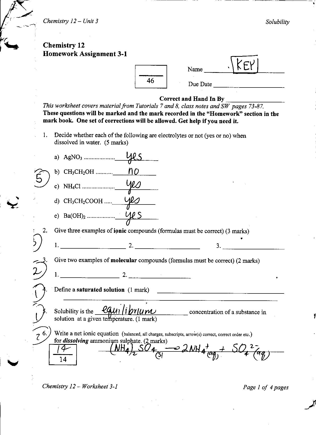 31 Chemistry Math Review Worksheet