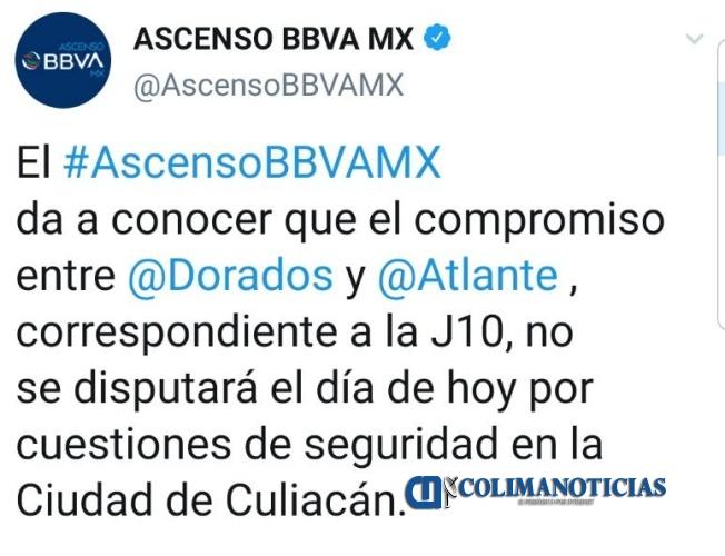 suspenden partido 1  - Balaceras en Culiacán obligan a suspender partido Dorados contra Atlante